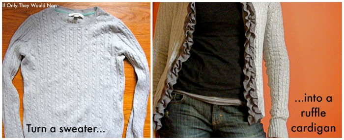 Turn a sweater into a ruffle cardigan