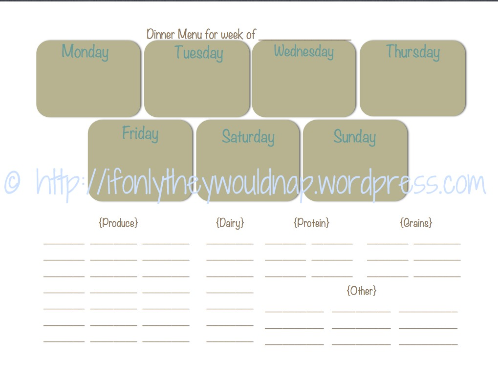 free printable dinner menu template