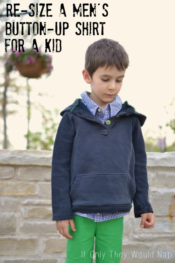 Re-size a men's button-up shirt for a kid