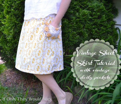 vintage sheet skirt tutorial \\ if only they would nap