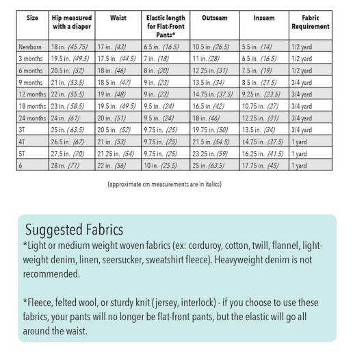 Bottoms Up Size Chart and Fabric Suggestions