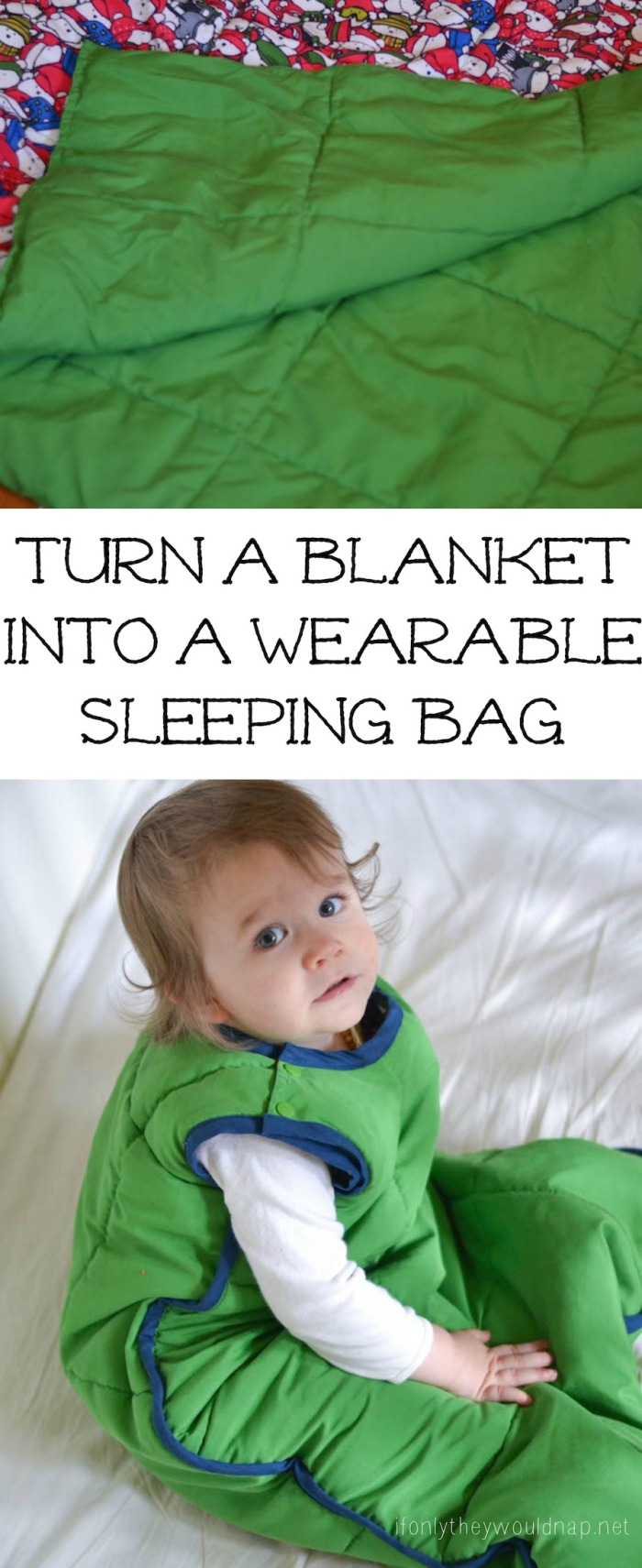 Turn a blanket into a wearable sleeping bag