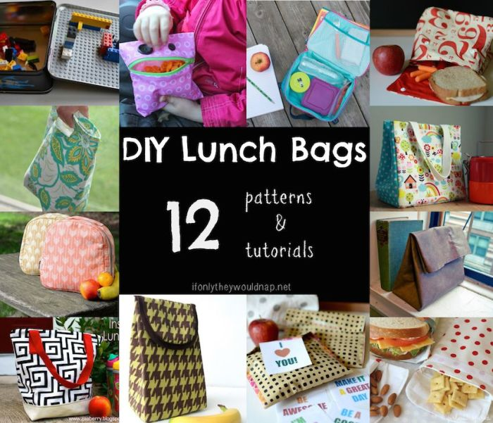 DIY Lunch Bags 12 sew and no-sew patterns and tutorials