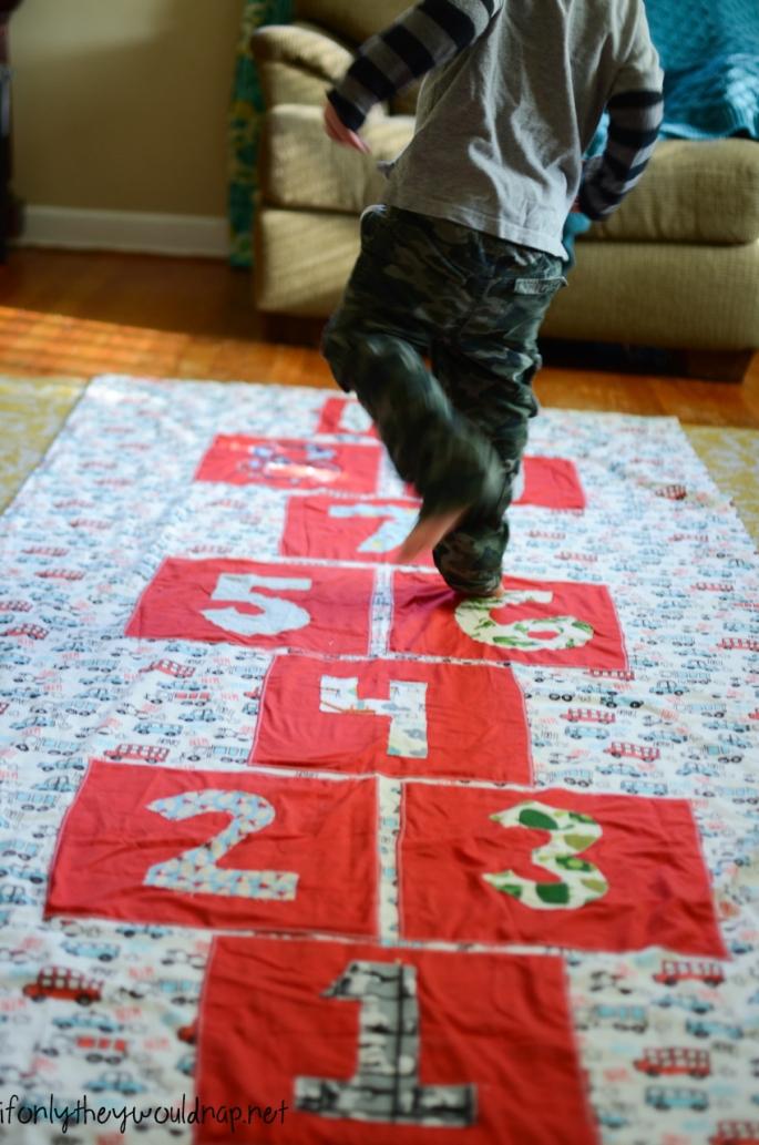 Make an indoor hopscotch mat